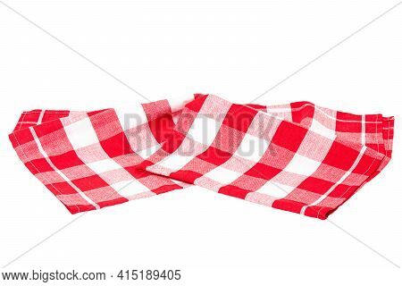 Closeup Of A Red And White Checkered Napkin Or Tablecloth Texture Isolated On White Background. Kitc