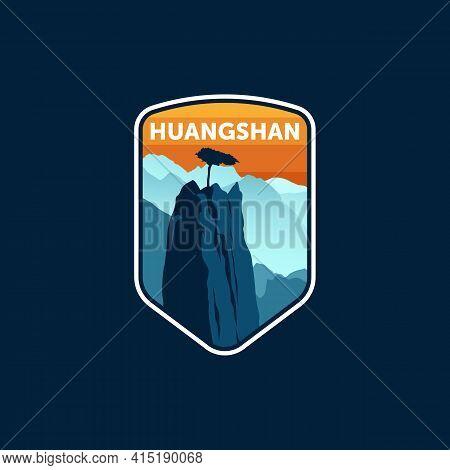 Huangshan China Mountains Vintage Logo Emblem Illustration Design . Travel Logo Badge Template