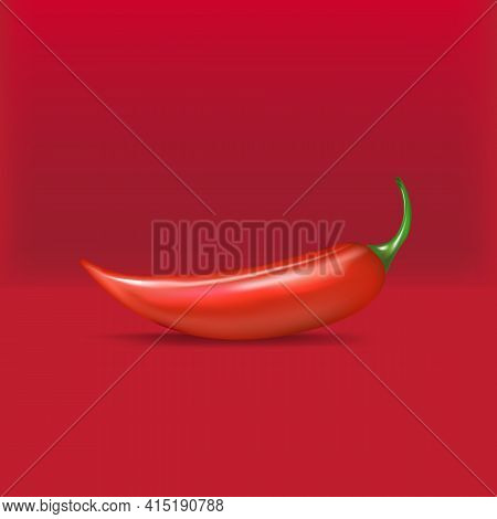 Red Hot Chili Pepper Realistic Vector Illustration. Red Hot Chili Pepper Lay On Red Podium Backgroun
