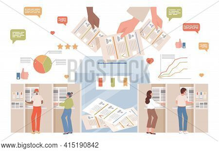 People Making Choice And Vote At Voting Station Vector Flat Illustration. Hands Putting Voting Ballo