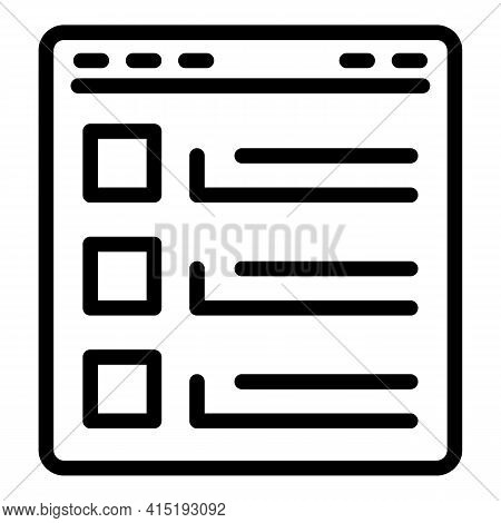 Web Page Task Schedule Icon. Outline Web Page Task Schedule Vector Icon For Web Design Isolated On W