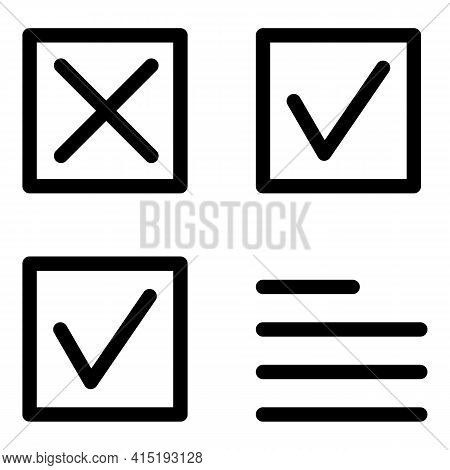 Approved Task Schedule Icon. Outline Approved Task Schedule Vector Icon For Web Design Isolated On W