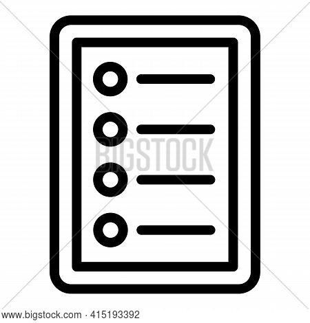 Clipboard Task Schedule Icon. Outline Clipboard Task Schedule Vector Icon For Web Design Isolated On