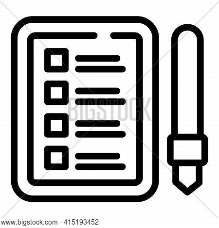 Task Schedule Pen Board Icon. Outline Task Schedule Pen Board Vector Icon For Web Design Isolated On