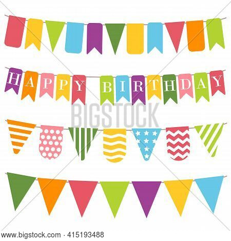 Bunting Flags With Inscription Happy Birthday White Background. Colorful Bunting For Holiday Decorat