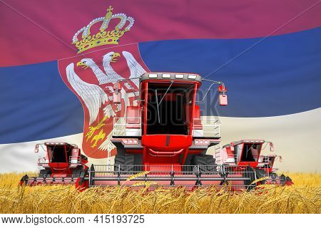 Industrial 3d Illustration Of 4 Bright Red Combine Harvesters On Rural Field With Flag Background, S