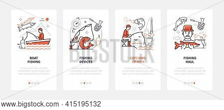 Fishing - Modern Line Design Style Web Banners