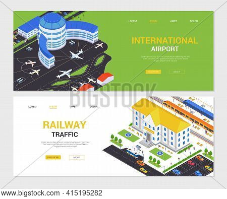 International Airport And Railway Traffic - Isometric Web Banners