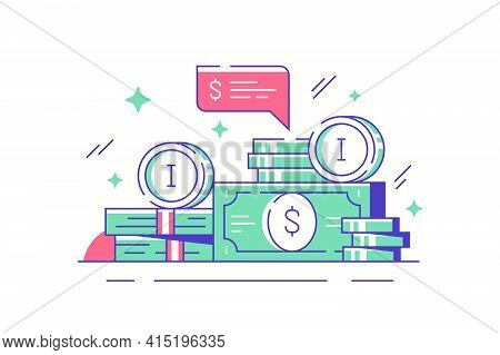 Wads Of Cash Banknotes Vector Illustration. Stack Of Green Money On Table Flat Style. Finance Econom