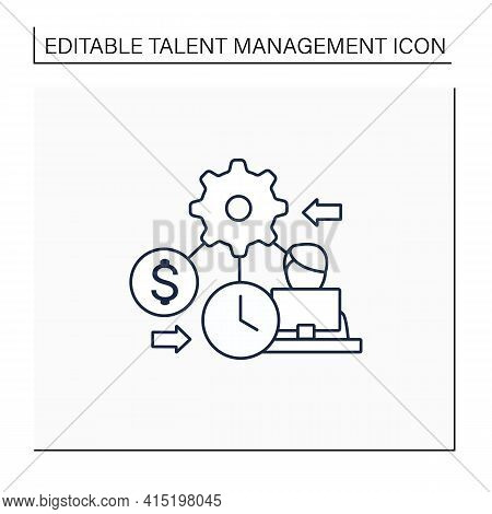 Resource Management Line Icon. Person Manages Various Resources Effectively On Laptop. Workers Budge