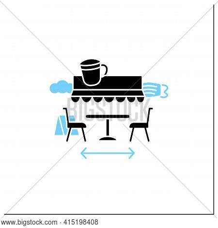 Terrace Cafe Glyph Icon. Dinner In Restaurant Terrace. Forced Distance. Regulation Through Covid19.