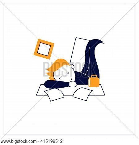 Mess Flat Icon. Chaos In House. Laziness. Person Sleep On Desk. Procrastination Concept. Vector Illu
