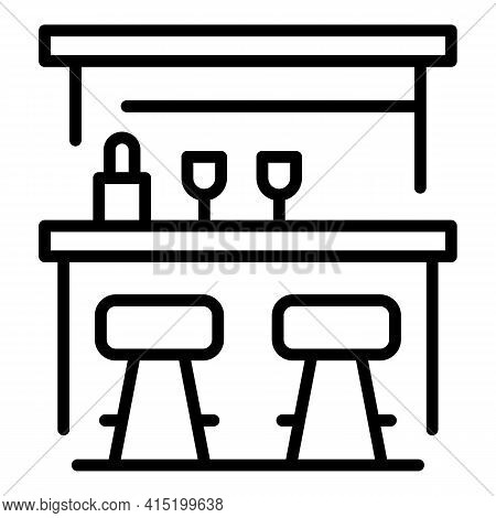 Drinks Counter Icon. Outline Drinks Counter Vector Icon For Web Design Isolated On White Background