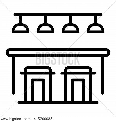 Bar Counter Stool Icon. Outline Bar Counter Stool Vector Icon For Web Design Isolated On White Backg