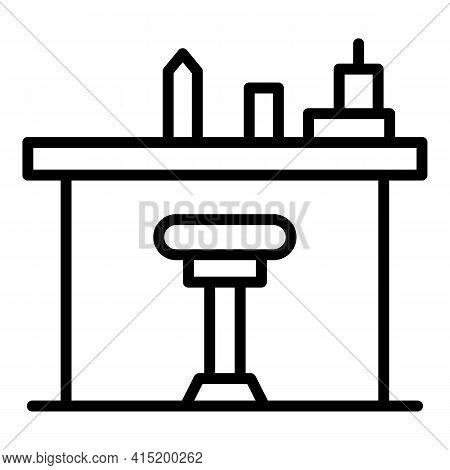 Bartender Counter Icon. Outline Bartender Counter Vector Icon For Web Design Isolated On White Backg