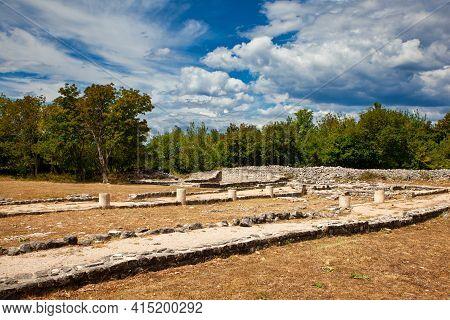 View Of The Ancient Roman Fulfinum Forum Called Municipium Flavium Fulfinum In Omišalj, Krk Island.
