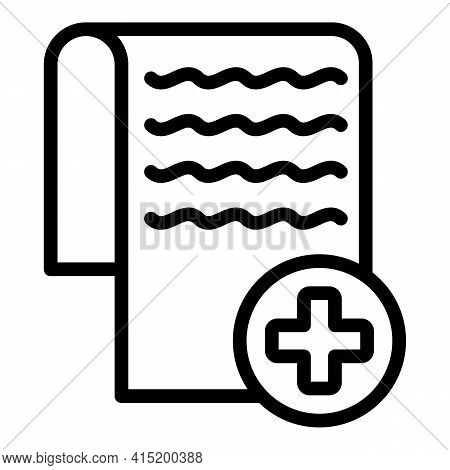 Medical Recipe Icon. Outline Medical Recipe Vector Icon For Web Design Isolated On White Background