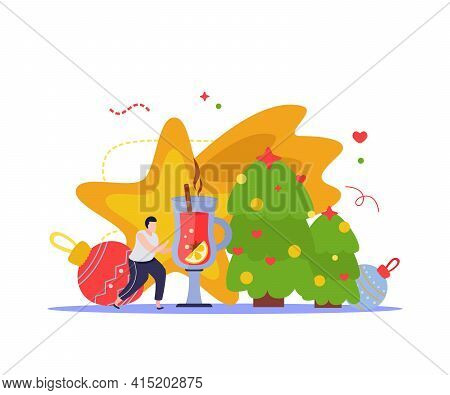 Merry Christmas And Happy New Year Composition With Decorated Trees Balls And Golden Star With Man V