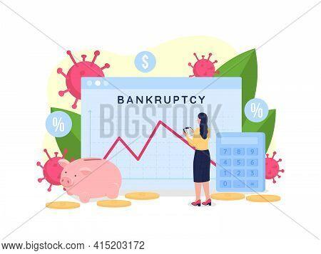 Financial Recession Graph Flat Concept Vector Illustration