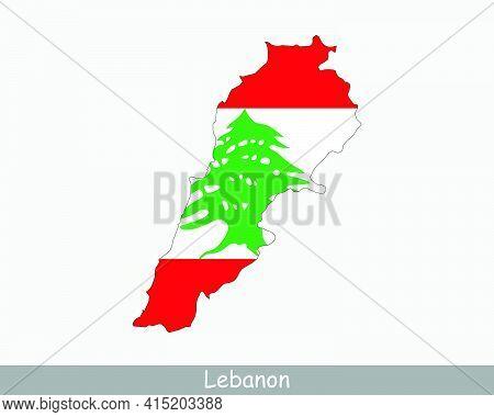 Lebanon Map Flag. Map Of The Lebanese Republic With The Lebanese National Flag Isolated On White Bac