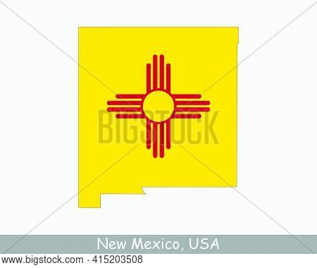 New Mexico Map Flag. Map Of Nm, Usa With The State Flag Isolated On White Background. United States,