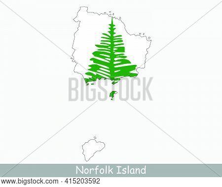 Norfolk Island Map Flag. Map Of Norfolk Island With Flag Isolated On White Background. Australian Ex