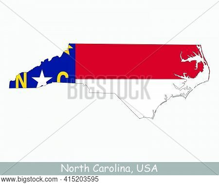 North Carolina Map Flag. Map Of Nc, Usa With The State Flag Isolated On White Background. United Sta