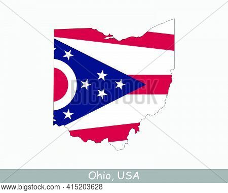 Ohio Map Flag. Map Of Oh; Usa With The State Flag Isolated On White Background. United States; Ameri