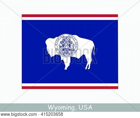 Wyoming Map Flag. Map Of Wy, Usa With The State Flag Isolated On A White Background. United States,