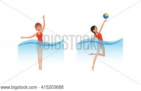 Water Sports Set, Women Playing Water Polo And Swimming Cartoon Vector Illustration