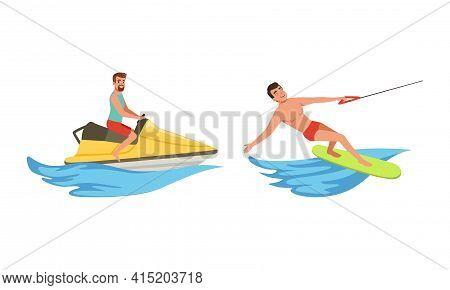 Water Sports Set, Man Water Skiing, Riding Wakeboard And Jet Ski Cartoon Vector Illustration