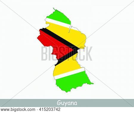 Guyana Map Flag. Map Of The Co-operative Republic Of Guyana With The Guyanese National Flag Isolated