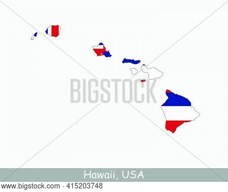 Hawaii Map Flag. Map Hawaii With The Hawaiian State Flag Isolated On White Background. United States