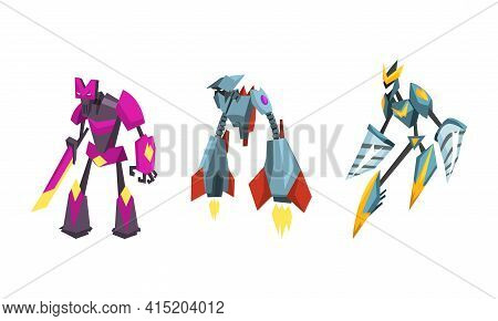 Robot Transformers Set, Powerful Robots, Fantasy Cyborg Soldier Cartoon Vector Illustration