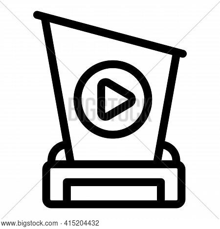 Ranking Video Cup Icon. Outline Ranking Video Cup Vector Icon For Web Design Isolated On White Backg