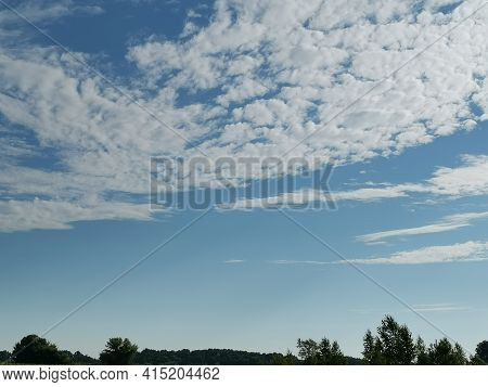 Summer Landscape On A Clear Sunny Day, Blue Sky With White Cumulus Clouds