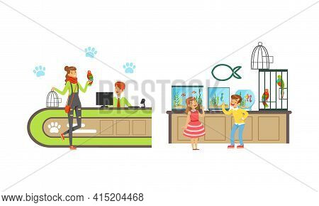 Cheerful People Shopping In Pet Shop Set, Visitors Buying Pets, Food, Accessories And Medicaments Ve