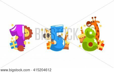 Birthday Anniversary Numbers With Cute Animals Set, Funny Lion, Panda, Giraffe With One, Five, Eight