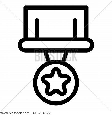 Army Medal Icon. Outline Army Medal Vector Icon For Web Design Isolated On White Background
