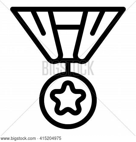 Victory Medal Icon. Outline Victory Medal Vector Icon For Web Design Isolated On White Background