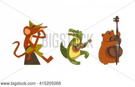 Wild Animals Playing Musical Instruments Set, Funny Rat, Crocodile, Beaver Playing Harmonica, Guitar