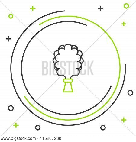 Line Sauna Broom Icon Isolated On White Background. Broom From Birch Twigs, Branches For Russian Ste