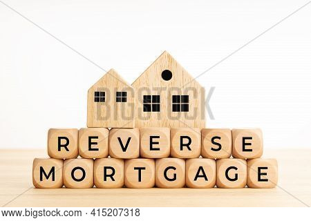 Reverse Mortgage Concept. Words On Wooden Blocks On Table. Copy Space