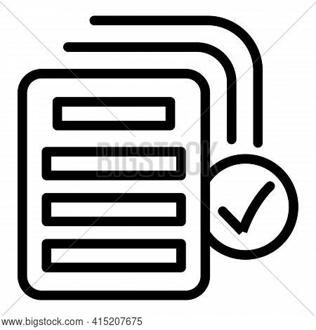 Approved Documents Icon. Outline Approved Documents Vector Icon For Web Design Isolated On White Bac