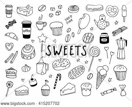 Sweets Vector Hand Drawn Doodle Set. Confectionery Icons On White Background Isolated. Illustration