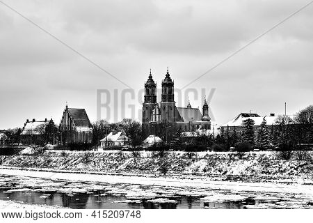 Floe On The Warta River During Winter In Poznan, Monochrome