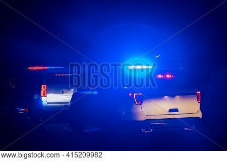 Night Police Lights Siren Car With Blue Emergency Lights On The Crime Scene Environment