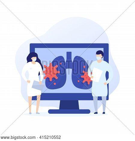 Virus In Lungs, Pneumonia Vector Art With Medics