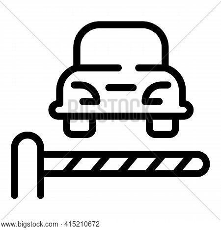 Parking Barrier Car Icon. Outline Parking Barrier Car Vector Icon For Web Design Isolated On White B