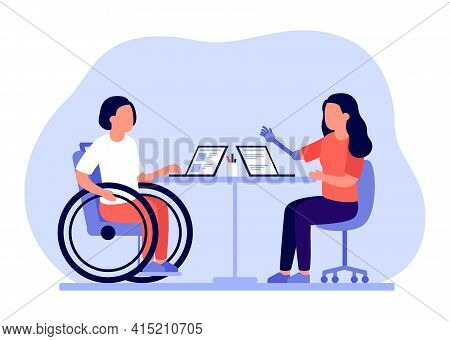 Employee People With Disabilities And Inclusion Work Together In Office. Disabled Different People O